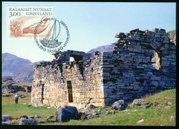 Mk Greenland Maximum Card 2000 MiNr 348 | Greenland Vikings, Story Teller And Model Of Great Northern Diver - Cartes-Maximum (CM)