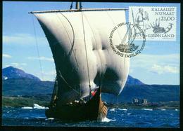 Mk Greenland Maximum Card 2000 MiNr 350 | Greenland Vikings, Viking With Gyr Falcon, Polar Bear, Walrus Tusks And Straps - Cartes-Maximum (CM)