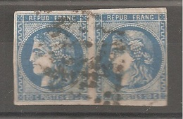 1 Paires Timbres Type Céres, N° 46B, Oblitérés - 1870 Emission De Bordeaux
