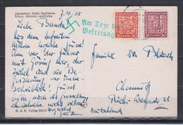 """Sudetenland Fotokarte """" Jägerndorf,Städt.Sparkasse """" Mit MiF CSSR 279,281 Grüner Befreiungs-o, Aptierter Tages-o 1938 - Sudetenland"""