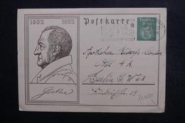 ALLEMAGNE - Entier Postal ( Goethe ) De Heidelberg Pour Berlin En 1932 - L 48854 - Ganzsachen