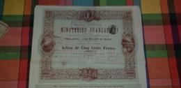 SOCIETE GENERALE DE MINOTERIES FRANCAISES 9046/10000 18/12/1879 BON ETAT TRES RARE - Actions & Titres
