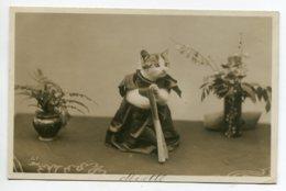 CHATS Humanisés Chat Costumé Avec Son Eventaiil CARTE PHOTO écrite 30 Aout 1913 De Bescenay En Othe   D19 2019 - Katzen