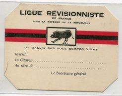 """POLITIQUE Carte De La  LIGUE REVISIONISTE De France """" Pour La Réforme De La République """"    D19 2019 - Parteien & Wahlen"""