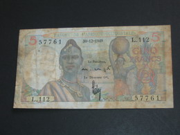 5 Francs 1949 - Banque De L'Afrique Occidentale **** EN ACHAT IMMEDIAT **** - Bankbiljetten