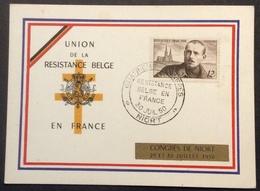 CM796 Union De La Résistance Belge En France Quatrième Congrès Niort 30/7/1950 Carte T 865 Péguy - Marcofilia (sobres)