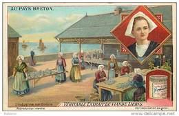 H4 AURAY INDUSTRIE SARDINIIERE BRETONS BRETAGNE 1880 LIEBIG 11x7 Cm   SARDINES - Liebig