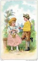 H1  COUPLE ENFANTS INCLUSION De SATIN Par PRESSAGE 11+ X 7+ Cm  * Ma Boutique : 1000 Rares Chromos - Poulain