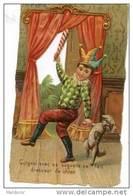 H2  GAUFRE LAQUE DECOUPI  CHROMO 12 X 7 Cm GUIGNOL De CHIEN CANICHE Vers 1880 - Poulain