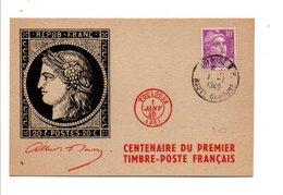 CENTENAIRE DU PREMIER TIMBRE FRANCAIS TOULOUSE 1949 - Poststempel (Briefe)