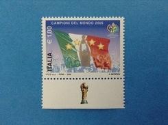 2006 ITALIA FRANCOBOLLO NUOVO STAMP NEW MNH** MONDIALI CALCIO ITALIA CAMPIONE DEL MONDO CON APPENDICE COPPA IN BASSO - 6. 1946-.. Repubblica