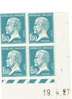 181 Pasteur Bleu 1,50 F. Coin Daté 19-04-1927 A Luxe - Coins Datés