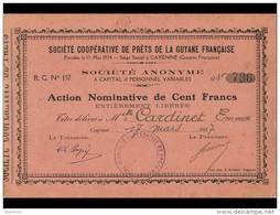 ACT1   00019  .GUYANE  CAYENNE  COOPERATIVE  DE  PRETS  1937  FORMAT  14 X 21 Cm . Voir Dos - Aandelen