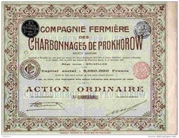 ACT1     00063    ACTION  .1905 RUSSIE. CHARBONNAGES  DE  PROKHOROW  MINES CHARBON - Russia