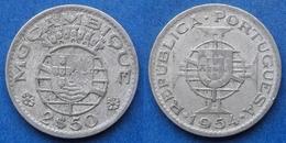 MOZAMBIQUE - 2-1/2 Escudos 1954 KM# 78 Portuguese Colony - Edelweiss Coins - Mozambico