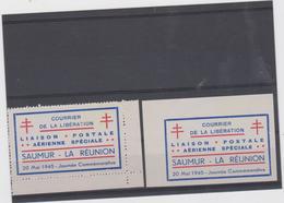 FRANCE LIBERATION SAUMUR 1945 - 2 Vignettes Poste Aerienne - Mayer PA1 PA1 ND - Liberation
