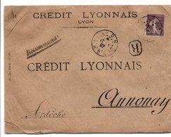PERFORE CREDIT LYONNAIS SUR LETTRE RECOMMANDEE DE LYON 1907 - Marcophilie (Lettres)