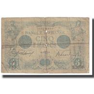 France, 5 Francs, Bleu, 1915, E.Picard-J.Laferrière, B, Fayette:2.27, KM:70 - 1871-1952 Circulated During XXth