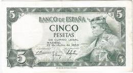 España - Spain 5 Pesetas 22-7-1954 Pk 146 A.2 Ref 699-3 - 5 Pesetas