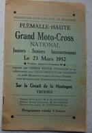 Programme Course Moto Cross National FLEMALLE HAUTE 23 Mars 1952 Circuit De La Montagne Trixhes Puub Austin 7HP - Programs
