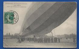 LUNEVILLE   Un Dirigeable  Zeppelin  Atterit Sur Le Terrain De Manoeuvre   Animées     écrite En 1913 - Luneville