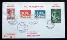 Denmark  Cz.Slania 1964 Red Cross Canc: Last Day As Princess In Denmark And First Day As: Queen Anna-Maria  ( Lot 2093) - Danimarca