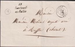 MARQUE POSTALE CHARENTE CURSIVE DE NANTEUIL-EN-VALLEE SUP - Marcophilie (Lettres)