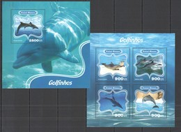 ST1078 2014 GUINE GUINEA-BISSAU FAUNA MARINE LIFE DOLPHINS GOLFINHOS KB+BL MNH - Delfine