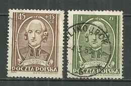 POLAND Oblitéré 648-649 Père Hugo Kollazaj Religion - 1944-.... Republic