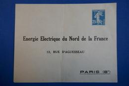FRANCE PARIS  RUE D AGUESSEAU VIII EME NON VOYAGEE NEUVE + PERFORATION L63 - 1903-60 Semeuse Lignée