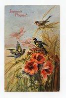 Illustrateur Signé . Joyeuses Pâques . Oiseaux . Chardonnerets . Goldfinch - Vogels