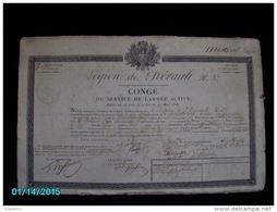 VXD1    003   LEGION  17éme DIVISION  1819  CONGE De MISTRAL Louice  PLACE D' AJACCIO   42x27   Sceau Royal En Creux  + - Documenti Storici
