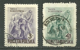 POLAND Oblitéré 664-665 Commémoration De La Constitution Danse Drapeau - 1944-.... Republic