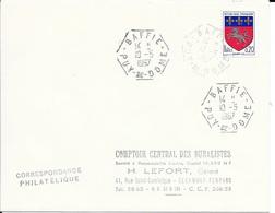 PUY DE DOME 63 -  BAFFIE -  RECETTE AUXILIAIRE RURALE  E8 - LIGNES DROITES TRONQUEES  -  1967 - BELLE FRAPPE - Handstempel