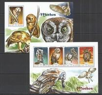ST1092 2014 GUINE GUINEA-BISSAU FAUNA BIRDS OWLS MOCHOS KB+BL MNH - Owls