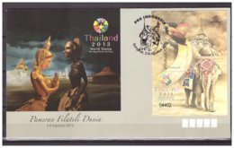 Indonesia 2013 FDC Elephant Bird Pagode Thailand World Stamp S/S - Indonesien