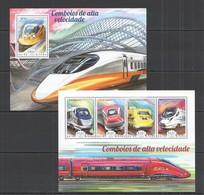 ST1110 2014 GUINE GUINEA-BISSAU TRANSPORT TRAIN COMBOIOS DE ALTA VELOCIDADE KB+BL MNH - Trenes