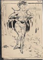 Ca.1910 Dessin Illustration Original Type GIBSON - Encre Sur Papier Carton - Signé - Dame Chasseuse - Dessins