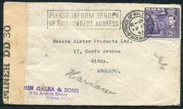 "1944 Malta Prince Of Wales BO Sliema Censor Cover - England. ""PLEASE INFORM SENDER OF YOUR CORRECT ADDRESS"" Cachet - Malta"