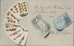 Kartenspiel Und Banknoten, Künstler-Postkarte, Spiele, Spielkarten - Cartes à Jouer