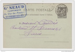 CP ENTIER POSTAL TYPE SAGE 10 C CAD ROCHEFORT SUR MER 1er AOÛT 1893 VERS PARIS TAMPON NEAUD PARFUMEUR - 2 Scans - - Ganzsachen