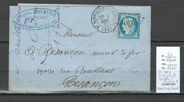 France - Lettre - GC3663 - Saint Hippolyte - Doubs - Facteur O - IDENTIFIE DE MONTECHEROUX - 1875 - Marcofilia (sobres)