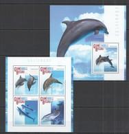ST1145 2014 GUINE GUINEA-BISSAU FAUNA MARINE LIFE DOLPHINS GOLFINHOS KB+BL MNH - Delfine