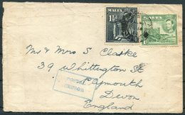 1944 Malta Valletta Cover - Plymouth Devon. Civilian Postal Censor - Malta