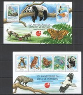 ST1163 2014 GUINE GUINEA-BISSAU FAUNA ANIMALS INSECTS ANNIVERSARY RED LIST KB+BL MNH - Timbres