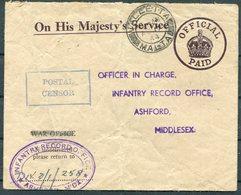 1944 Malta Valletta O.H.M.S. Official Cover - Infantry Records Office, Ashford Middlesex. Boxed Postal Censor - Malta