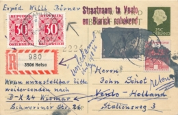Nederland - 1966 - 25+25 Cent En-profil, Briefkaart G335 - Dubbel Gebruikte Curieuze Zwerfkaart Met Postkrieg En Taxed - Postal Stationery