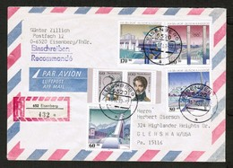 GERMANY   Scott # B 741-4 & 1685a-b On REGISTERED AIRMAIL COVER To USA (15/02/93) (OS-538) - [7] Repubblica Federale