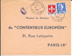 AVEYRON 12   -   BOURNAZEL     -  AGENCE POSTALE  F7     -  1959  - BELLE FRAPPE -  CACHET FACTEUR D - Manual Postmarks