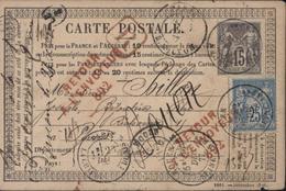 Rare CP Recommandée 1877 Retour à L'envoyeur 892 Rouge De La Chjapelle St Denis YT 77 + 78 CAD T18 Rouen 22 12 77 - 1877-1920: Période Semi Moderne